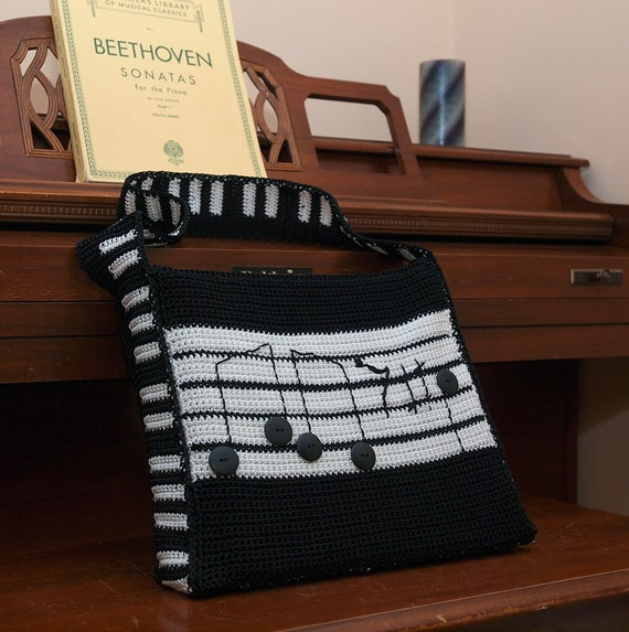 Knitting Pattern For Book Bag : MUSIC BOOK Messenger BAG Crocheted Handmade Guitar Large Piano