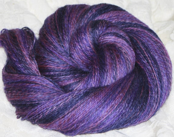 400m of hand dyed, handspun fingering weight Romney yarn