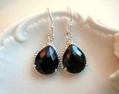Black Earrings Silver Teardrop Earrings - Sterling Silver Earwires - Bridesmaid Earrings - Wedding Earrings - Bridal Earrings