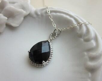Black Onyx Necklace Silver Teardrop - Sterling Silver Chain - Bridesmaid Necklace - Bridesmaid Jewelry - Bridal Wedding