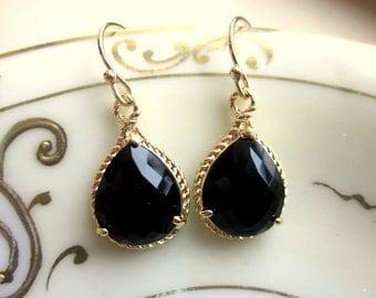 Black Earrings Gold Teardrop Earrings - Bridesmaid Earrings - Wedding Earrings - Valentines Day Gift