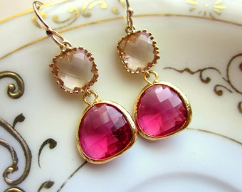 Fuchsia Earrings Champagne Peach Gold Two Tier - Bridesmaid Earrings - Wedding Earrings - Valentines Day Gift