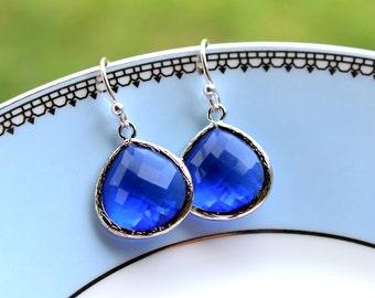 Blue Cobalt Earrings Silver Large Pendant - Sterling Silver Earwires - Wedding Earrings - Bridal Earrings - Bridesmaid Earrings