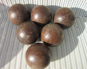 Antique Treen Burl Bowling Balls 6 bowling balls, wooden balls, vintage sporting goods, very old very heavy