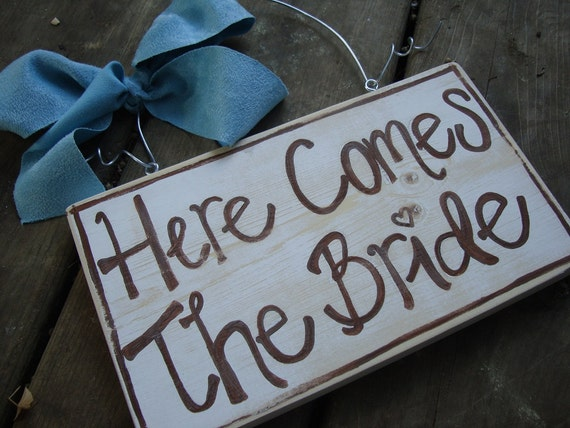 Here comes the bride - rustic wedding sign - flower girl sign - photo prop