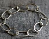 Fine Silver Oval Link Bracelet, Hammered and OOAK