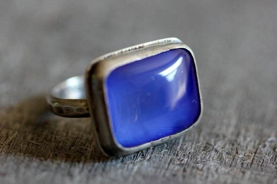 Brilliant Blue Agate & Sterling Ring, Unisex, Size 8