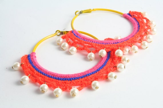 Gypsy Dance Colorful Hoop Earring and Pearls