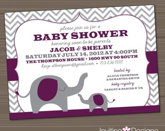 Elephant Baby Shower Invitation, Purple, Gray, (PRINTABLE FILE)