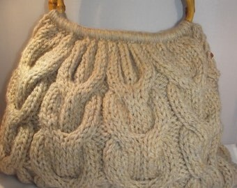 Knitted Handbag With Bamboo Handles, cabled, wool, beige, medium size,