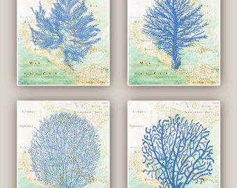 Sea fan prints, Set of 4 Ocean  prints, sea grass, coral, nautical Prints, bathroom wall decor,  map gulf of Mexico, beach cottage decor