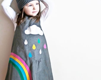 girls dress rainbow raindrops cloud grey pinafore