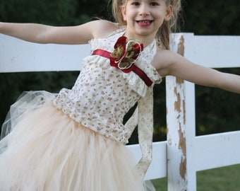 cream, ivory, burgundy vintage fall flower girl dress for wedding, photoprop, birthday