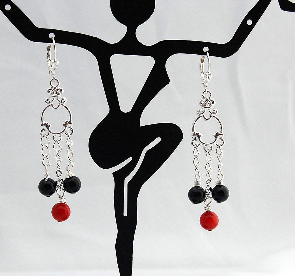 Red Coral Chandelier With 3 Lights: Black Onyx & Red Coral Chandelier Earrings Drop Earrings
