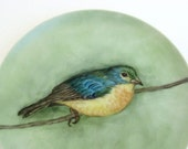Vintage hand painted turquoise and yellow bird on branch ceramic decorative plate