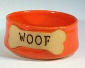 Pottery Dog Bowl, Ceramic Pet Food Dish, Handmade Stoneware Bowl, Blue Green Glaze