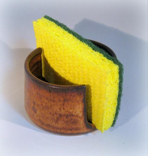Handmade Ceramic Sponge Holder, Desert Sunrise Glaze, Kitchen Cleaning