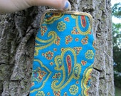Groovy Vintage 60s Blue Paisley Change Purse or Sunglass Case