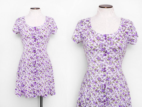 Purple Floral Babydoll Dress Size Small 1990s Vintage