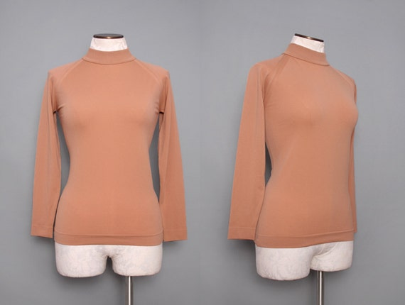 1970s Equestrian Stretch Turtle Neck Top Size Small Medium