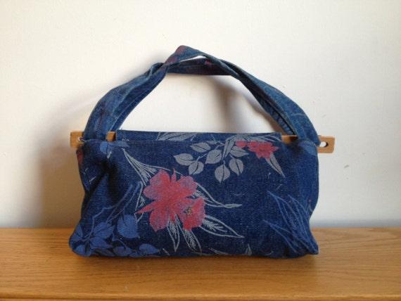 SALE vintage floral painted denim handbag purse