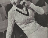 1944 Campus Classics V Neck Cable Sweater Knitting Pattern