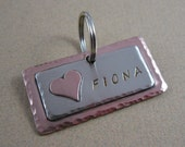 Pet ID Tag - Mixed Metals Dog Tag - Personalized Pet ID Tag with Copper Heart