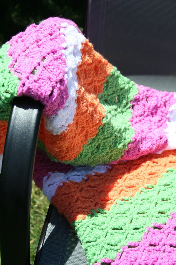SALE Crochet Shells Baby Afghan Blanket in Pink Green Orange and White Stripes (was 35)
