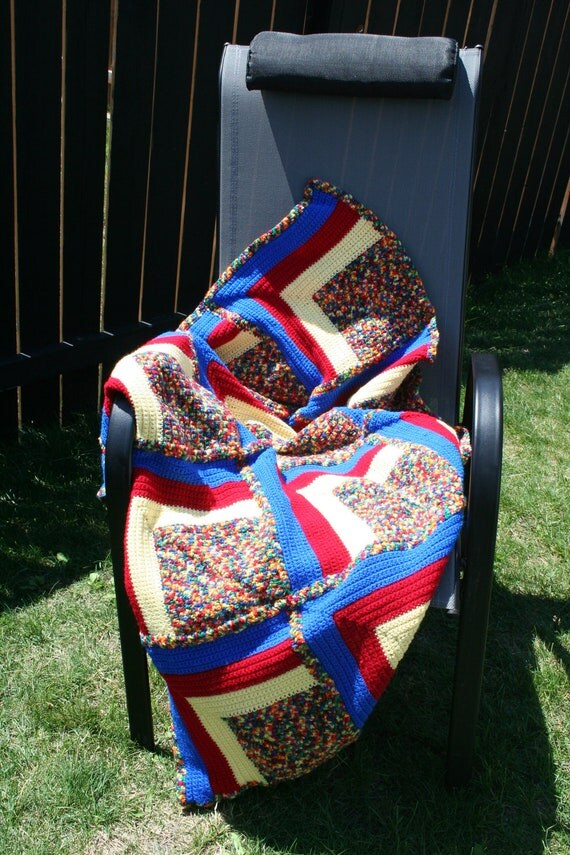 SALE Crochet Multi Colored Blue, Red, and Yellow Baby Toddler Afghan Blanket (was 50)