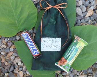 Zombie Vaccine, Zombie Apocalpyse, Co-Worker Gift Bag, Zombie Protection, Forest Green