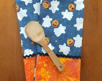 Halloween Ghosts Dish Towel Set, Tea Towels