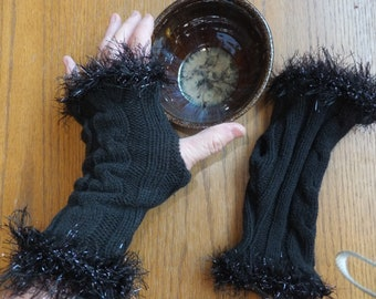 Bewitching Black Knit Fingerless Gloves, Cotton Knit Arm Warmers