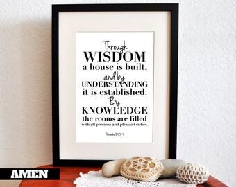 Printable Christian Poster. Proverbs 24:3-4. Wisdom. Understanding. Knowledge. 8x10. DIY. Bible Verse.