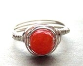 Orange Jade Sterling Silver Wire Wrapped Ring