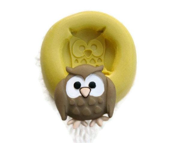 OWL mold Flexible silicone push mold / mould  for FIMO, resin, wax, soap, kawaii