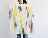 "24""x30"" Abstract, Neon Yellow, Ikat-Inspired, Original Painting"