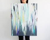 """24""""x30"""" Abstract, Contrasting White, Gray and Turquoise, Ikat-Inspired, Original Painting"""