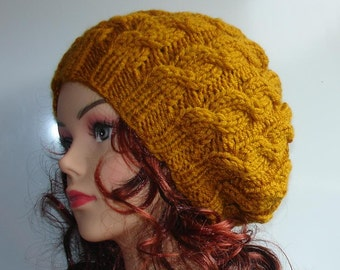 Hand Knit cable Hat beret women cable knit hat slouch women Slouchy Beanie  Knit Hat Chunky Knit Winter Fall Accessories Slouchy Knitted