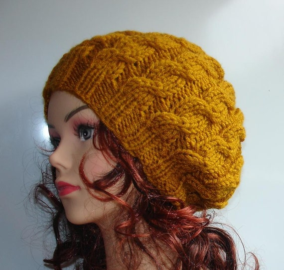 Hand Knitted Hat Patterns : Hand Knit cable Hat beret women cable knit hat slouch by Ifonka