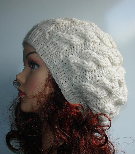 knit cable hat beret cable knit hat slouch by