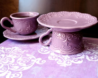 Single Cupcake Stand / Vintage Tea Party Decor in Lilac, Lavender or Light Purple / Creme Brulee Pedestal / Housewarming Gift Hostess Gift