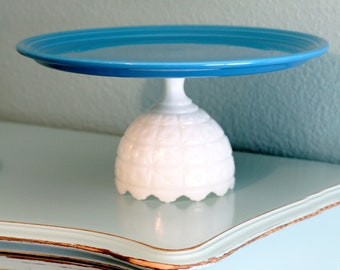 "15"" Cake Stand in Teal Blue or Peacock Blue / Cake Plate Pedestal / Ceramic Cake Stand / Cupcake Stand / Cake Pop Stand / Blue Cake Stand"