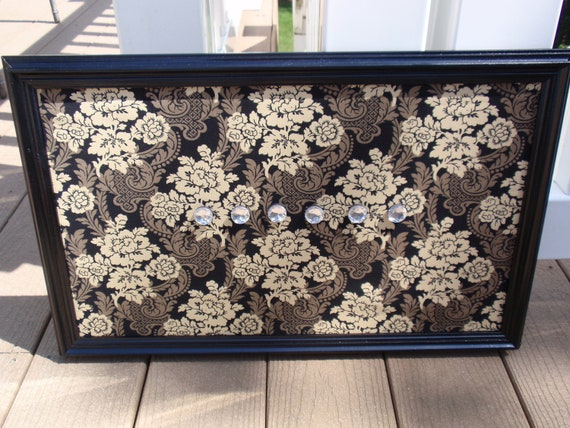 Framed Magnet Bulletin Board or Makeup Organizer in Black, Brown & Cream Floral Fabric - Black Frame with Six Jewel Magnets