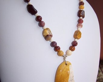 Carved Mookaite Goddess necklace with earrings