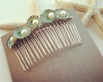 BUY 3 GET 1 FREE* Beach wedding hair comb Green Limpets