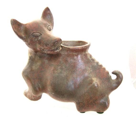 Vintage TexMex Mexican Nahual Dog art terracotta vessel
