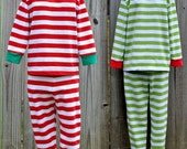 Striped Christmas Pajamas with Monogram