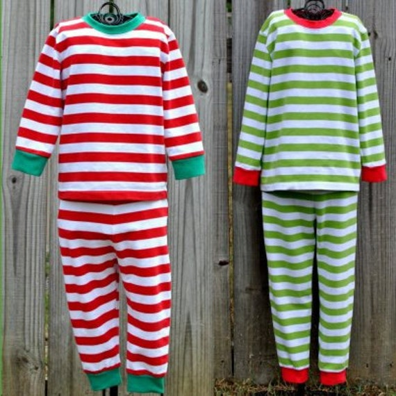 Striped Christmas Pajamas with Applique