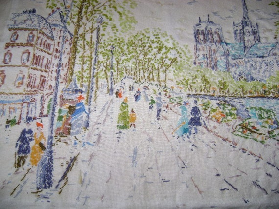 """Vintage Stitchery - Paris Street Scene - Completed 28"""" x 21"""" Stitchery for Pillow or Framing - Gorgeous Handwork"""