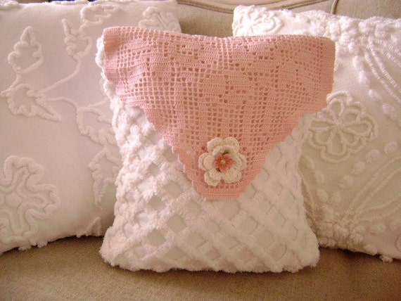 Vintage Chenille Pillow  - Last One with Sweet Vintage Pink Crocheted Doily - Decorator Pillow Insert Included